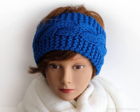 Zopfmuster hell blau Haarband Stirnband Enzianblau Wolle | Etsy