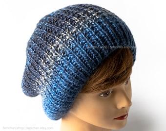 Tie dye slouchy beanie - Knitted ombré hat - Seamless knit cap - Soft toque - Vegan-friendly skater beanie - Blue beanie hat - More colours!