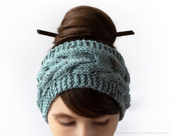Mineral blue - Soft cable knit headband with tweed effect - Wool blend ear warmer, turban - Made in Belgium - More colours available!