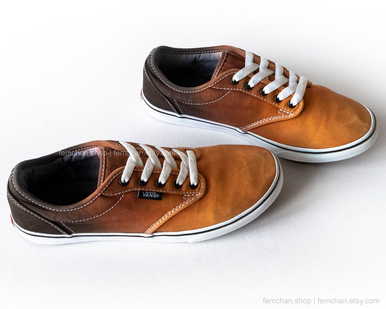b4a9aaf1b4 Orange ombré Vans Atwood Low skate shoes dip dye Vans tie