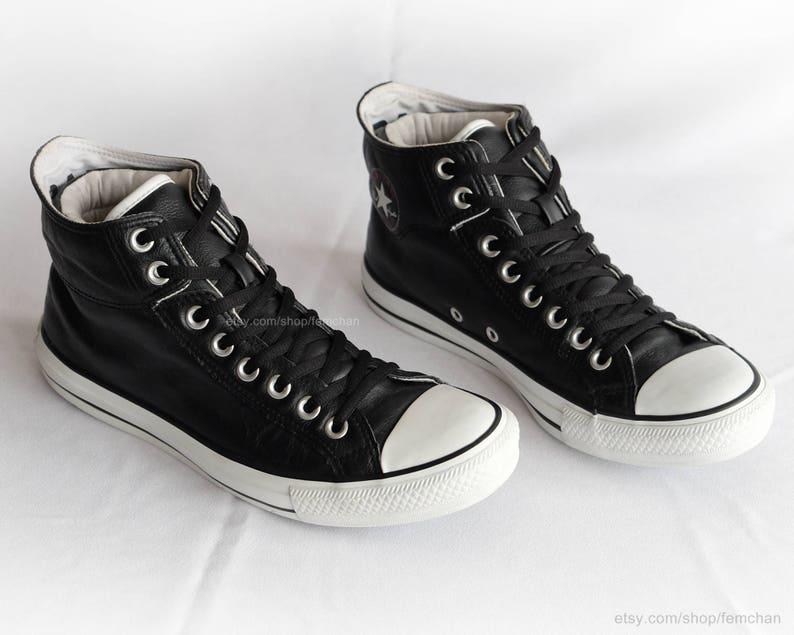 Black leather Converse All Stars, vintage sneakers, fold over cuffs, double collar high tops, size eu 41 (UK 7.5, US men's 7.5, US wo's 9.5)