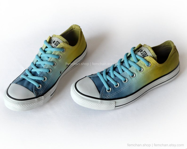 7a8ba64cac60 Dip dye Converse All Stars sky blue yellow ombré low tops
