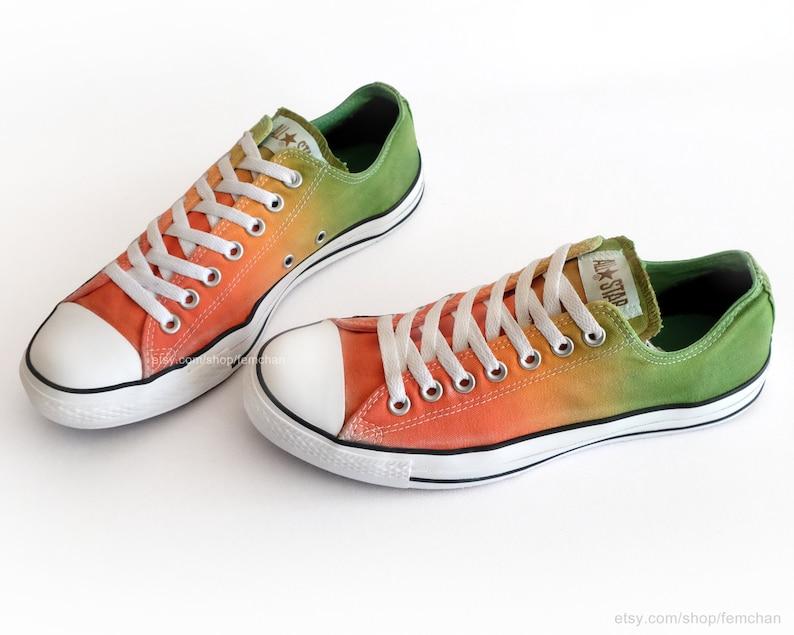36c612818314b6 Converse All Stars ombré tie dye orange to green dip dye