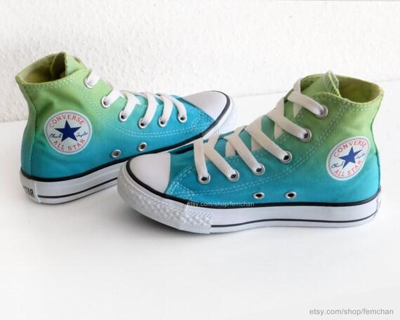 Neues Paar! Frühlingsgrün Türkis Dip dye Converse All Stars, Kinder, Ombré hohen Gipfeln, Sportschuhe, Turnschuhe, Größe EU 30 (UK 12, US 12,5)