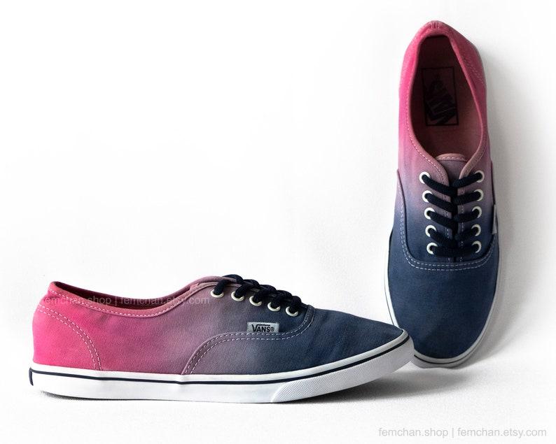 f6d5a2fd56775 Dip dye Vans Authentic Lo Pro, tie dye, rose red, blue ombré skate shoes,  upcycled vintage sneakers, size 39 (UK 6, US women 8.5, US men 7)