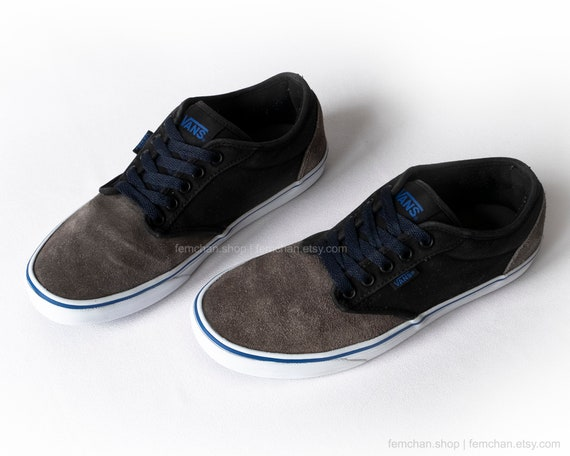 Vans Atwood skate shoes, vintage sneakers, suede and canvas low tops in black, grey and blue, trainers, 40.5 (UK 7, us men 8, us women 9.5)
