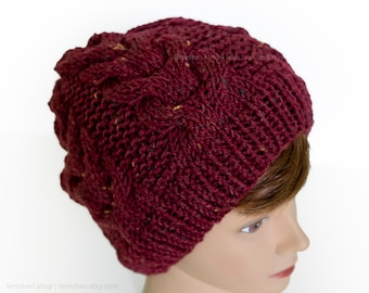 Rich red - Cable knit beanie hat in chunky tweed effect yarn - Very soft wool blend hat - Seamless slouchy beanie - Warm winter cap