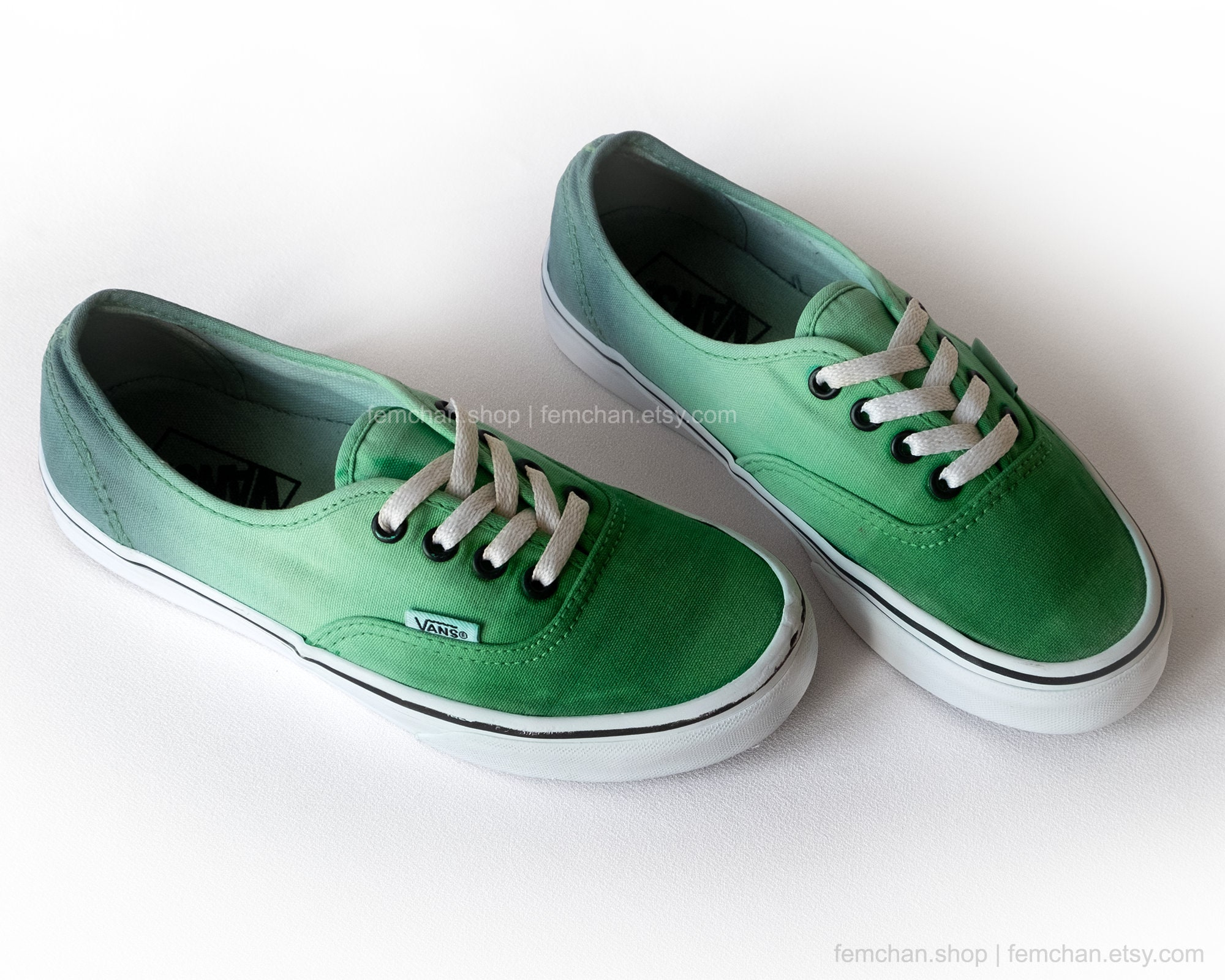 Green Vans shoes, Vans Authentic, ombré dip dye shoes, green tie dyed skate shoes, upcycled vintage shoes, 36,5 (UK 4, us wo 6.5, us men 5)