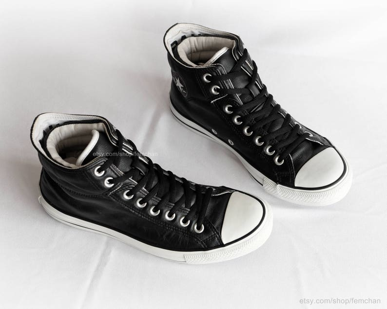 4b71145a5f35 Black leather Converse All Stars