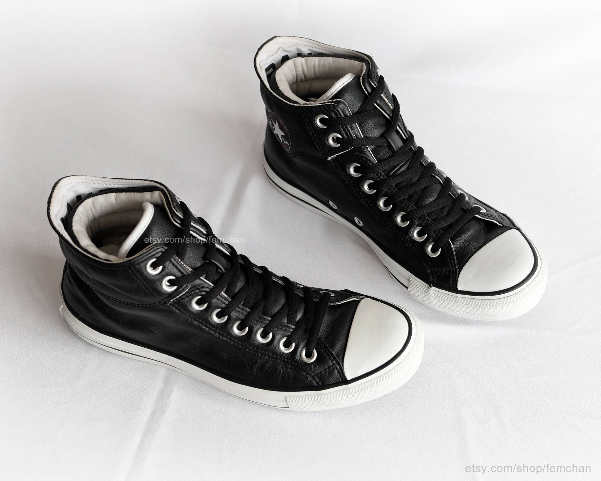 e381085086a7 Black leather Converse All Stars vintage sneakers fold over