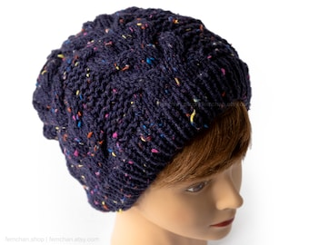 Galactic blue - Cable knit beanie hat with confetti speckles - Chunky knitted cap - Soft wool hat - Seamless slouchy beanie - More colours!