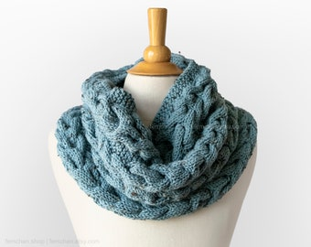 Mineral blue - Soft wool blend cable knit snood - Hand-knitted infinity scarf with tweed effect - Chunky winter neck warmer - More colours!