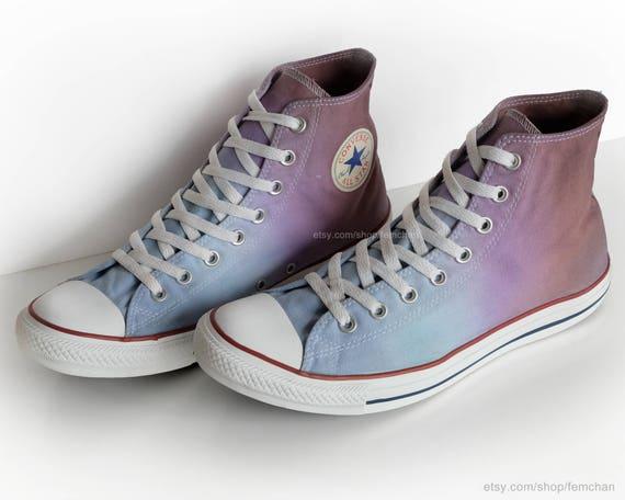Ombré dip dye Converse All Stars light blue purple brown   Etsy fa01f423d2