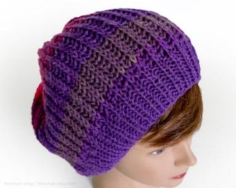 Slouchy tie dye beanie hat - Bright knitted beanie cap - Neon ombré knit beanie - Soft vegan-friendly skater beanie - Seamless knit rave hat