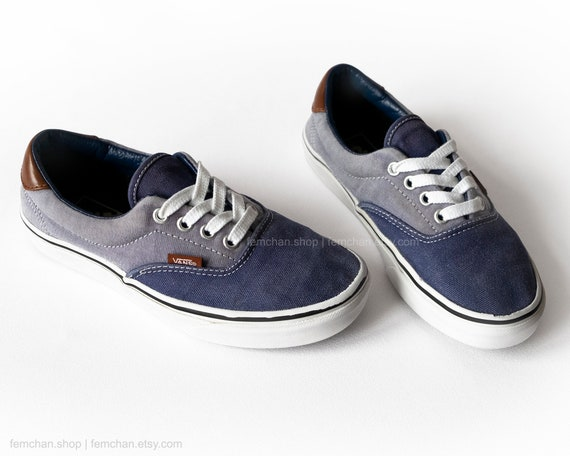 6b917452eef6 Vans Era skate shoes in navy blue chambray and leather