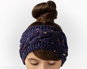 Galactic blue - Soft cable headband with confetti tweed flecks - Wool blend ear warmer, turban - Made in Belgium - More colours available!