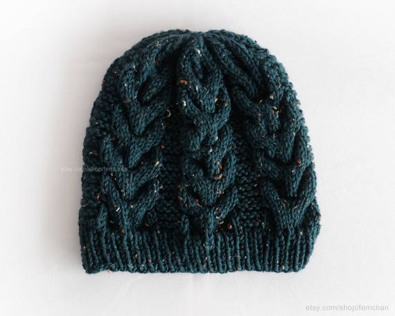 13218f69131 Spruce green knit beanie cable knit hat tweed wool toque