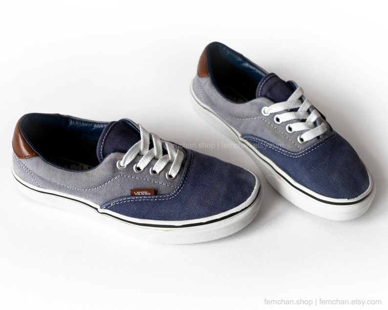89939af275 Vans Era skate shoes in navy blue chambray and leather