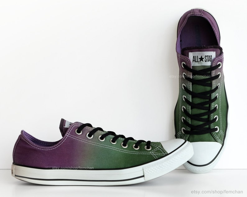 a8928da2e822f Purple, green ombré dip dye Converse, All Stars, low tops, upcycled  sneakers, transformed vintage shoes, EU 45 (UK 11, Mens 11, US Wo's 13)
