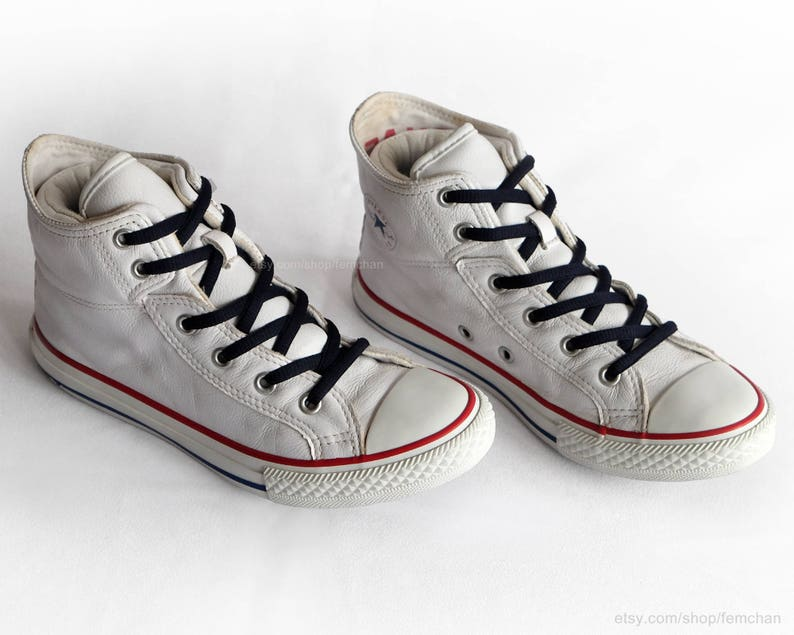 f1329aee0052 White leather Converse All Stars vintage sneakers fold over