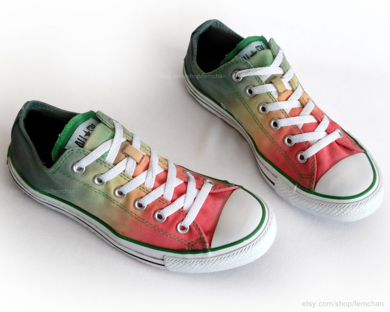 29ef8114196bc4 Red green ombré dip dye Converse All Stars low tops