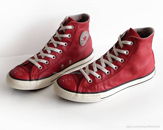 Converse All Stars, red leather vintage sneakers, red high tops, brogue details, vtg kicks, size eu 37 (UK 4, US wo's 6.5, US men's 4.5)