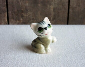 Miniature Porcelain Cat Figurine Hand Paint Set//4 TINY Black /& White Cat Kitten