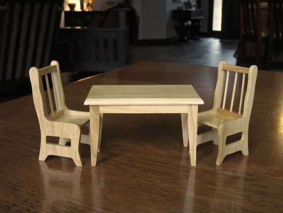 Dollhouse Kitchen Table Two 2 Chairsnaturalwoodwooden Etsy