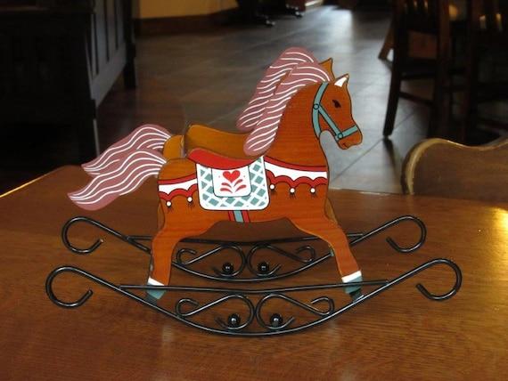 Vintage Christmas Decor Rocking Horse Sleigh Wooden