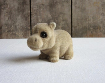 Chubby Vintage Flocked Hippo Figurine, Miniature Hippo Figurine, Retro Fuzzy Hippo Toy, Kitsch Kitschy Hippo Toy, Flocked Fuzzy Happy Animal