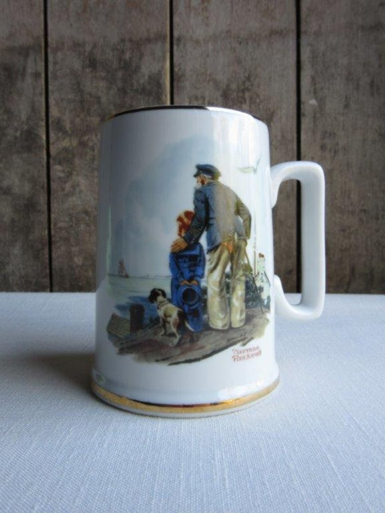 f91f9d25c02 Vintage Norman Rockwell Coffee Mug, Cup, Looking Out to Sea, Coffee Tea  Cup, Mug, 1985, Normal Rockwell Museum Souvenir, Gift, Art, Series