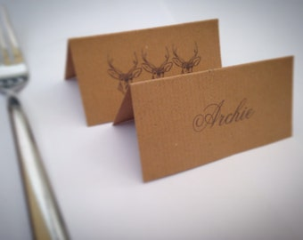 6 PERSONALISED Place Cards - CHRISTMAS - Stag/Manilla/Grey/Wedding/Woodland/Table
