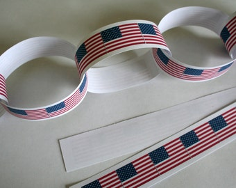 4TH JULY Independence Paper Chain Garland Party Decoration USA Flag Thanksgiving