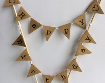 Party HAPPY BIRTHDAY Cake Bunting Topper Rustic Decoration Manila