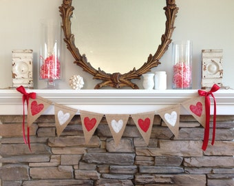 Valentines Day Burlap Banner, Painted Heart Burlap Banner, Valentines Day Banner, Valentines Day Photo Prop