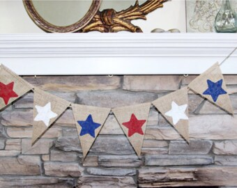 Patriotic Red White and Blue Burlap Banner~July 4th Banner~4th of July Party Decorations~4th of July Garland~Patriotic Garland