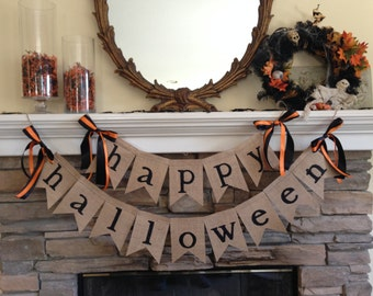 HAPPY HALLOWEEN burlap banner ~ HALLOWEEN burlap banner ~ decoration fall decor