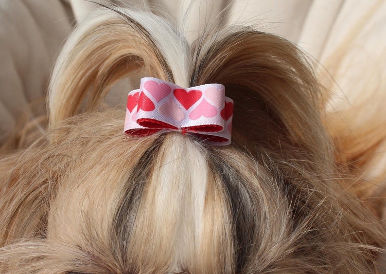 Dog Hair Bow shih tzu yorkie maltese dog show bow pet hair bows puppy love red hearts