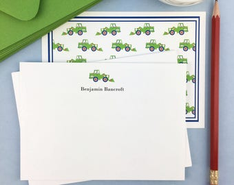 Personalized Kids Stationery / Boys / Note Set / Thank You Notes / Classic / Green / Bulldozer /Tractor/ Thank You Cards/ Boxed Set of 10