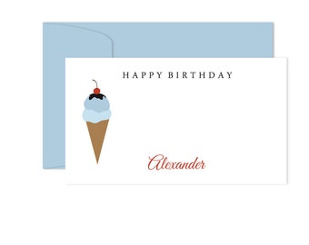 Birthday Gift Enclosure Cards, Personalized Enclosure Cards For Kids, Personalized Birthday Card Enclosure Tag Cards, Ice Cream Cone