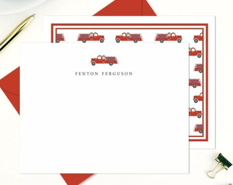 Firefighter Firetruck Baby Shower or Birthday Party Thank You Note Cards with Envelopes Shaped Thank You Cards Set of 12 Fired Up Fire Truck