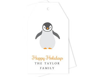 Personalized Christmas Gift Tags Penguin (Set of 10) - Custom Gift Tags, Christmas Gift Wrap, Christmas Tags, Christmas Packaging