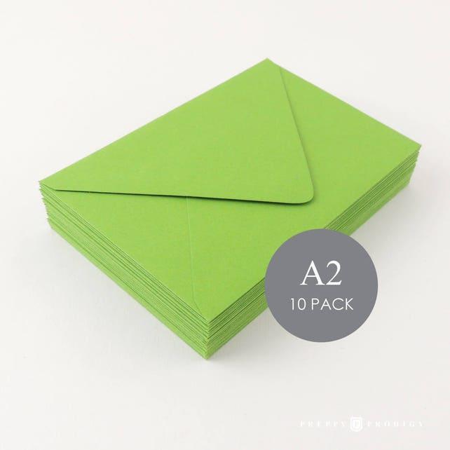 "A2 Euro Flap Envelopes - 4 3/8"" x 5 3/4"", Mailers & Mailing Envelopes, Wedding Envelopes, Green , sold in sets of 10"