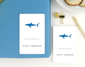 Children's Bookplate Stickers, Gift for Kids, Personalized Children's book labels, School Supplies, Boxed Set of 16, Blue Shark