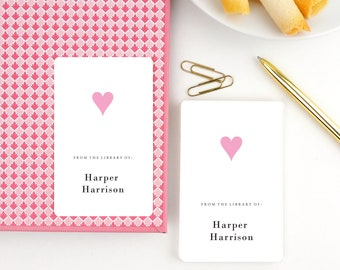 Children's Bookplate Stickers, Gift for Kids, Personalized Children's book labels, School Supplies, Boxed Set of 16, Pink Heart