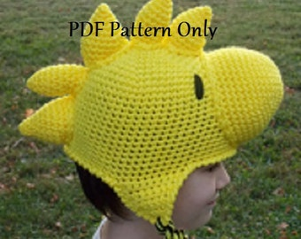 335fc8e343c9b Hand Crocheted Yellow Bird Beanie Hat Stocking Cap with Ear Flaps PDF  Pattern All Sizes