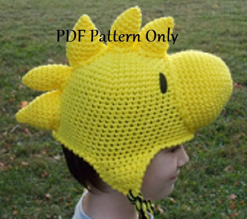 4ffbd88f Hand Crocheted Yellow Bird Beanie Hat Stocking Cap with Ear | Etsy