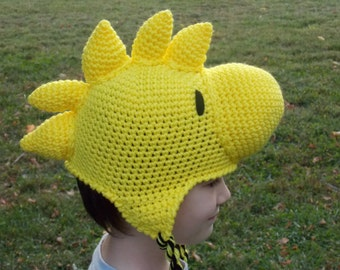 Crochet Yellow Bird Woodstock Inspired Hat, Beanie, Stocking Cap with Ear Flaps - Peanuts