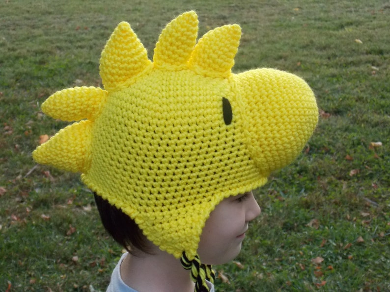 Peanuts Beanie Yellow Bird Woodstock Hat Stocking Cap with Ear Flaps
