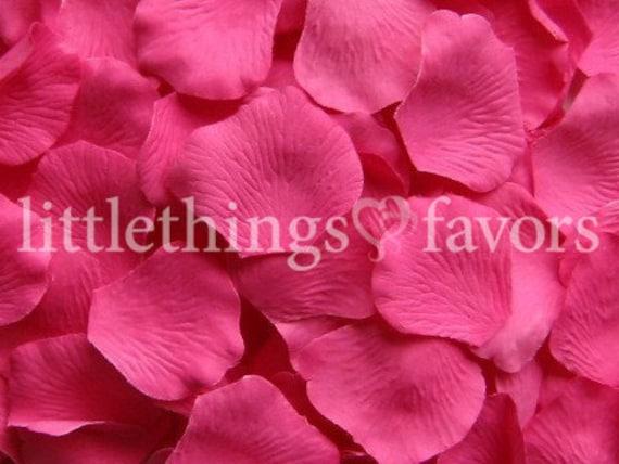 Hot pink rose petals fuchsia silk rose petals fake rose etsy mightylinksfo